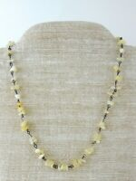 Vintage ME Signed Soapstone and Silver Tone Metal Strand Necklace Cream White