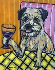 border terrier at the wine bar dog art Notecard set