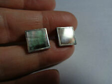 SQUARE STERLING SILVER 925 STAMPED STUD EARRINGS WITH MOP MOTHER OF PEARL