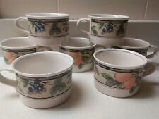 MIKASA Garden Harvest Set of 7 Mugs/Cups Intaglio Fruit CAC29 Malaysia~Exc Cond