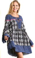 UMGEE Womens Blue Bohemian Woven Pheasant Boho Long Bell Sleeves Dress S M L