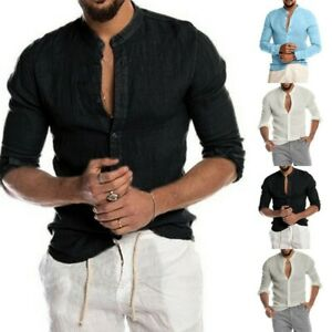Mens Casual Loose Linen Long Sleeve Solid Color Shirts Blouse Button Tee Tops