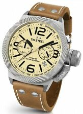 Mens TW Steel 50mm Canteen Brown Leather Cream Dial Date Chronograph Watch CS14