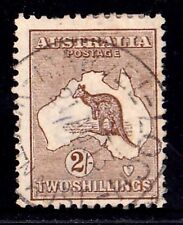 Australia 1913 Kangaroo 2/- Brown 1st Watermark Used - OFFSET, MARVEL LOCH, WA