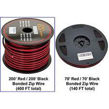 18 Ga Gauge 200 Feet CCA Copper Clad Aluminum Red/Black Bonded Zip Cord Speaker