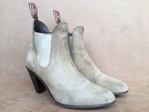 RM Williams Ladies Cowra Boots Beige Suede Size US 10 / UK 9