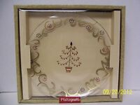 "Pfaltzgraff Holiday Gold Glassware Round Serving Platter (12"") NIB -- Excellent!"