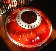 Red White Glass Ceiling Shade vintage Funky Mid Century