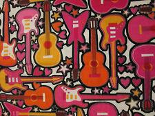 GUITARS ROCKER MUSIC ROCK AND ROLL PINK ORANGE STARS HEARTS COTTON FABRIC FQ
