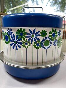 Vintage BLUE GREEN FLOWERS Metal Cake Saver FOOD CARRIER TRIPLE DECKER
