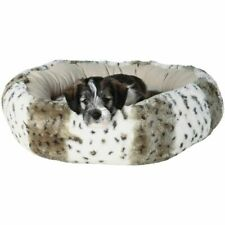 Small Dog Bed Round Plush Puppy Faux Fur Washable Cover Comfort Slumber Sleep