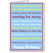 Unique Typographic ASTON VILLA Football FAN Birthday Card/ Gift