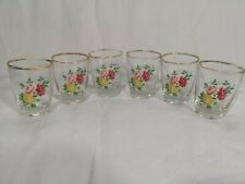 Set Of 6 Vintage Aperitif Liqueur Shot Floral Glasses