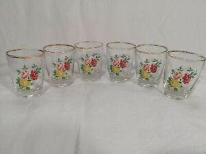 Set Of 6 Vintage Aperitif Liqueur Shot Floral Glasses