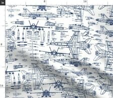 Jet Fighter Pilot Flying Airplane Blueprint Fabric Printed by Spoonflower Bty