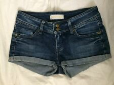 Ladies true vintage boho/festival faded dark wash denim hotpants by Top Shop 6/8