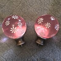 Pottery Barn Kids Rose Pink Glass Blossom Finial Curtain Rod Set of 2 Nickel