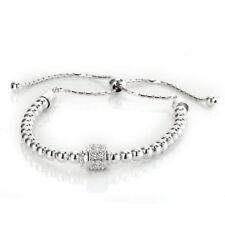 Sterling Silver 925 Friendship Adjustable  Bead CZ Bracelet hallmark italian