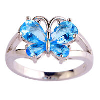 EB_ BL_ Fashion Silver Jewelry Butterfly Shape Aquamarine Wedding Ring Size 6-10