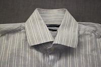 HUGO BOSS GERALD US Mens White & Blue Striped Regular Fit Dress Shirt 15 34/35