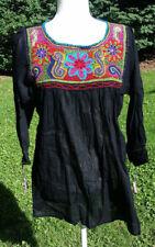 Maya Mexican Blouse Top Shirt Embroidered Semi-Sheer Chiapas Medium Black 204