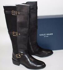 03d661bb300bd NIB COLE HAAN Size 7 Women's Black Calf Leather Stretch Suede SALAM TALL  Boot