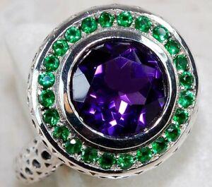3CT Amethyst & Emerald 925 Sterling Silver Art Deco Ring Jewelry Sz 7 FO2