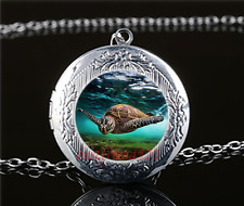Sea Turtle Photo Cabochon Glass Tibet Silver Locket Pendant Necklace#Q45
