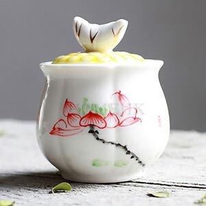 Porcelain Gaiwan Tea Cup Hand paint flower lotus 3D lid Chinese White Ceramics