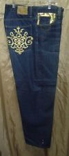 AUSTRALIAN COOGI MEN'S DISTRESSED GOLD EMBROIDERED BLUE JEANS SIZE 38x34