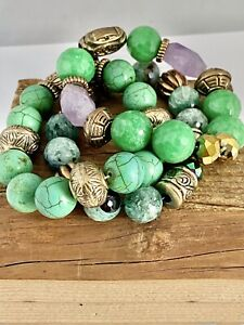 Set Of 3 Amethyst, Dyed Turquoise STONE BEAD STACKING BRACELETS Metal Bead Trim