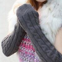 Womens Winter Long Gloves Fingerless Arm Hand Warmer Knitted Warm Mitten Casual