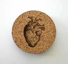 Human Heart Etched Cork Coasters Set of 4 Anatomical Heart