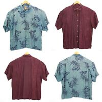 X2 Tommy Bahama 100% Silk Button Up Hawaiian Shirt Maroon Blue Floral Mens XXL