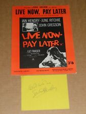 """Ian Hendry """"Live Now, Pay Later"""" film sheet music + Signed Autograph Book Page"""