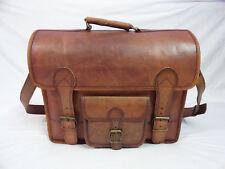 """Real Leather Office Briefcase Messenger Bag 15.6"""" Laptop Satchel Shoulder Bag"""