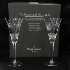 2 Waterford Crystal Millennium Collection Peace Champagne Flutes 9 1/2""
