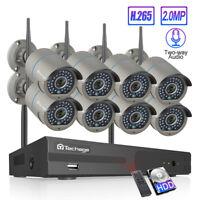 Techage 8CH Wireless NVR 2MP 1080P 2-Way Audio Wifi Camera CCTV Security System