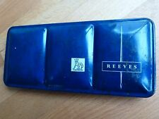 Vintage REEVES 12 watercolours in blue metal cased folding artist paint tin box