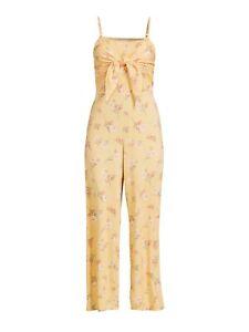 No Boundaries Juniors Tie Front Jumpsuit Golden Curry Large (11-13) Floral