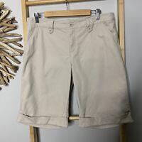 Target Size 14 / L Beige Cotton Shorts Women's Knee Length