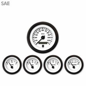 5 Piece Gauge Set - SAE Classic White Face Black Modern Needle Black Trim Rings