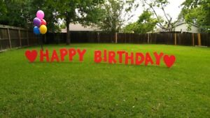 "Yard Letters - HAPPY BIRTHDAY - 24"" Tall coroplast plastic 4mm - Colors"