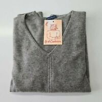 PULL TAILLE M SWEATER DONNA 100% PUR CASHMERE CACHEMIRE PURE GRIS