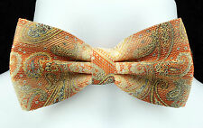 Orange Gold Tan Paisley Bow Tie + Hanky Hankie Tuxedo Wedding Bowtie Set New