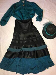 1900 VICTORIAN Edwardian costume size 10 Titanic Music Man stage top skirt hat