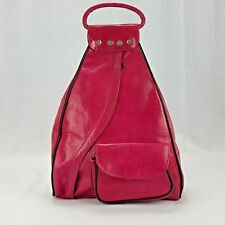 Handcrafted Leather Backpack Purse Pink Large Guitare
