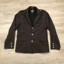 Roar Strength Refined Mens Dark Brown Embroidered Blazer Jacket Cotton Size L