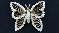 Vintage White Enamel Harp Butterfly Brooch Pin Gold Tone Metal Figural Jewelry