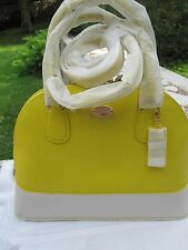 NWT Coach Bicolored Cross Grain Cora Domed Satchel-Yellow/Chalk F34491-$375